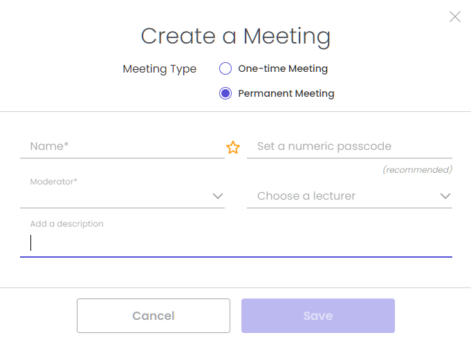 3.Select One-time Meeting from the Meeting Type drop-down. 4.Type a UNIQUE meeting name.