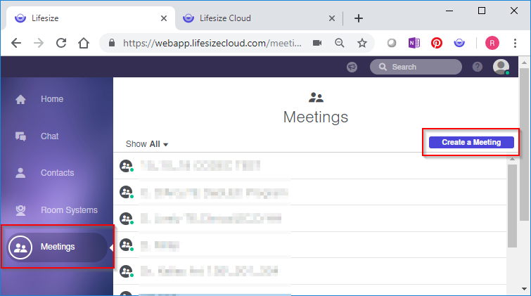 1.	Click Meetings in the navigation panel. 2.Click Create a Meeting from the top right.