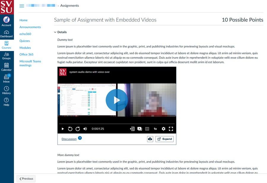 Sample embedded media in Canvas
