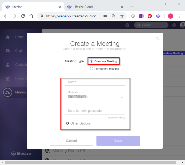 3.	Select One-time Meeting from the Meeting Type drop-down. 4.	Type a UNIQUE meeting name.