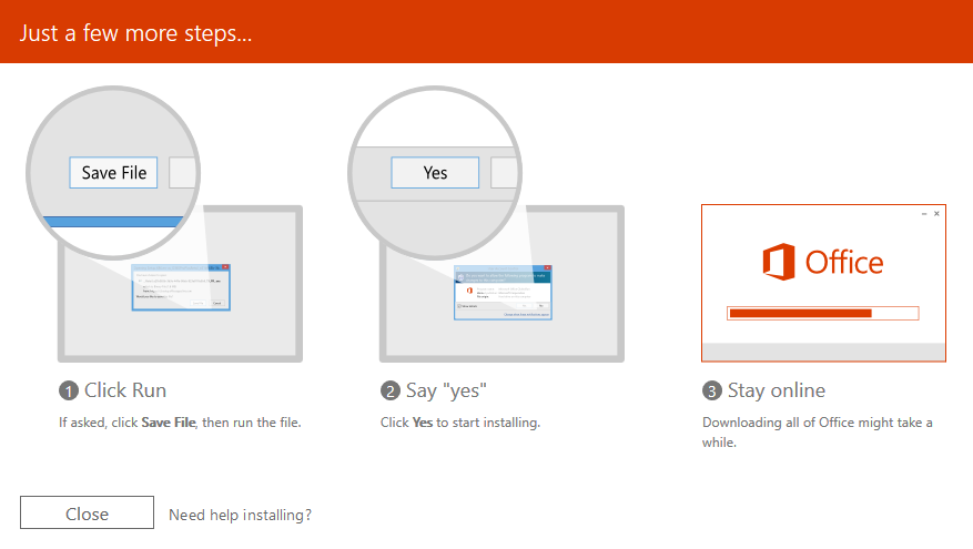 Windows: Select to Run the file and then choose Yes to start installing.
