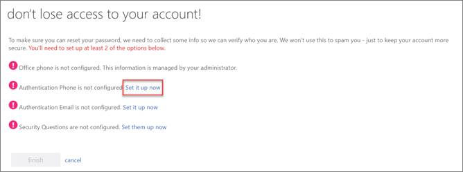 SSPR Registration screen.  Authentication phone option is selected.