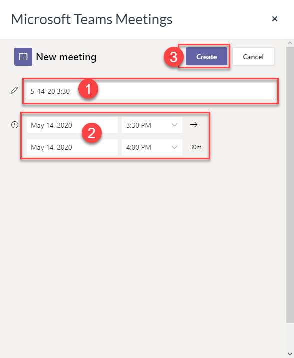 Type a title for the meeting. Select the date and time the meeting should occur.  This is for your reference. The meeting can be started and/or stopped outside of the selected times.  This does not restrict you to just this date/time frame. Click the Create button.