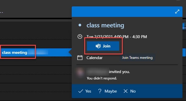 """Find the appointment that was sent to you for the date/time of the class meeting. Note that the appointment may not be in your calendar if you haven't """"accepted"""" the appointment from your Email Inbox. If you don't see the appointment, check your messages."""