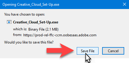 adobe save installation file in Firefox