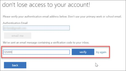 SSPR Registration screen.  Type the verification code that from the email message.