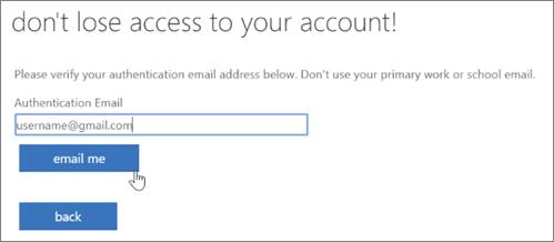 SSPR Registration screen.  Type the authentication email.