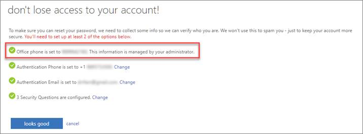 SSPR Registration screen.  Office phone option is selected.