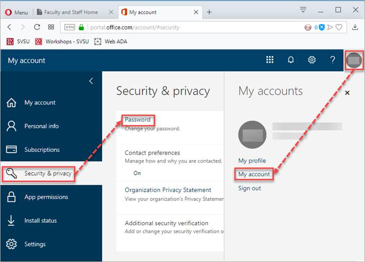 Office Account Properties screen.  Security and Privacy is selected.