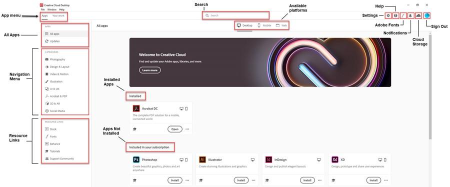 Creative Cloud Desktop Interface