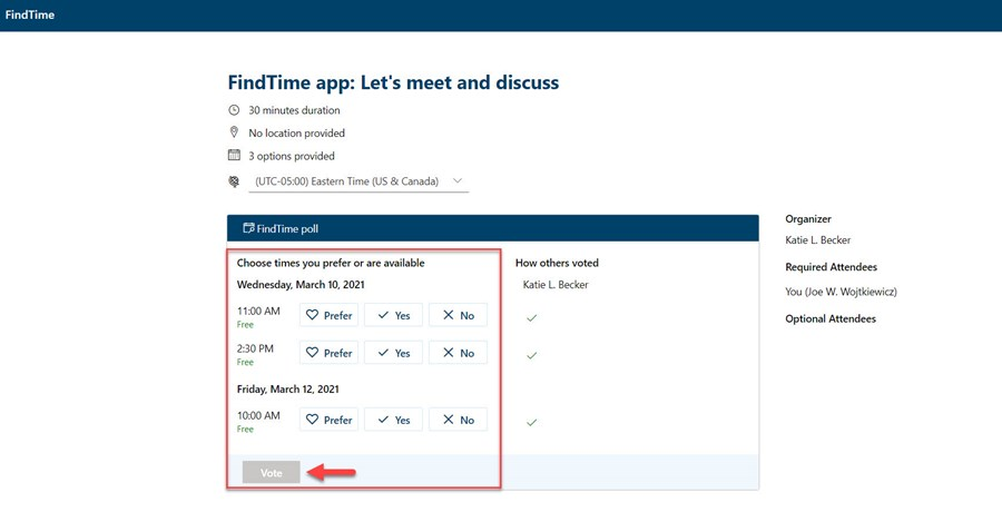 FindTime Proposed Meeting Times