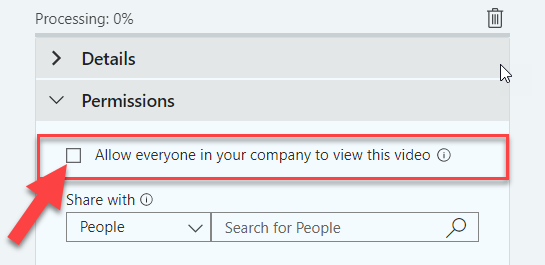 An image: Microsoft Stream Permissions Allow everyone in your company