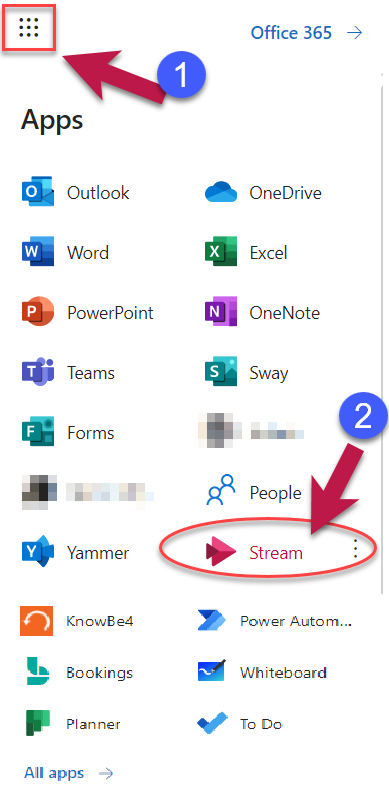 Office 365 App Launcher and accessing MS Stream