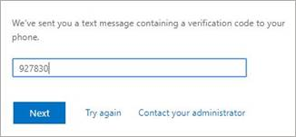 SSPR Recovery screen.  Type the verification code from the text message.