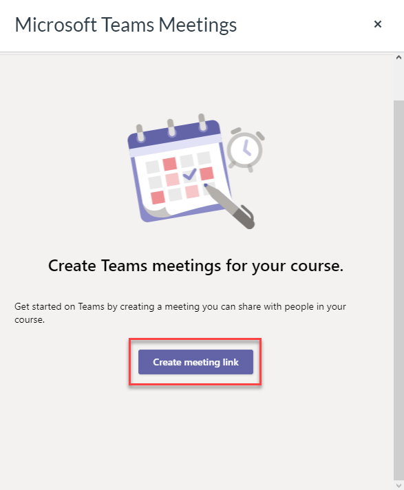 Select the Create meeting link button.