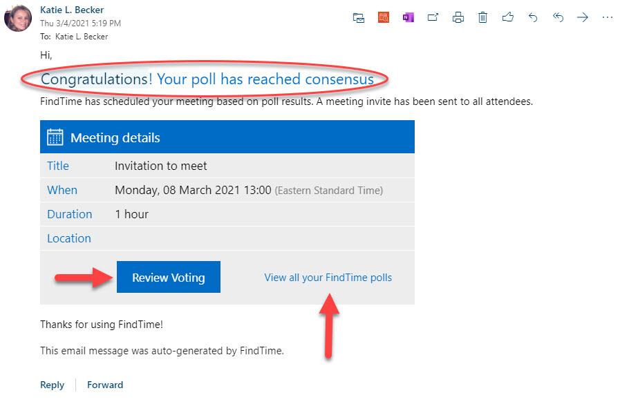 FindTime Meeting Poll Conscensus Met