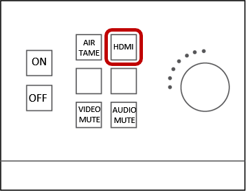 HDMI: If connecting with an HDMI cable, plug the HDMI cable into your laptop and into the port that is directly below the screen on the wall.  Select HDMI from the wall-mounted control box.
