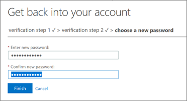 SSPR Recovery screen.  Type a new password and confirm the new password.