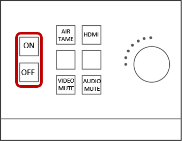 Turn the power on to the projector by using the touch panel in the front of the room and selecting Collaboration, or by using the On button on the wall-mounted control box