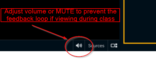 An image: Echo360 video player adjust volume or mute