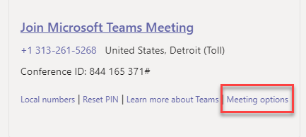 Click the Meeting Options link.