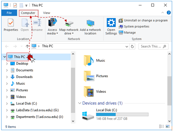 Open the File Explorer application, then open This PC. Select the Computer tab. Click Map network drive.