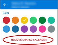 Tap a color to set a color preference for the person's calendar. Tap REMOVE SHARED CALENDAR to remove a person's calendar. The result is instant on your phone and syncs the changes to all Outlook synced devices.