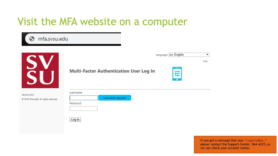 Visit the MFA website on a computer - mfa.svsu.edu