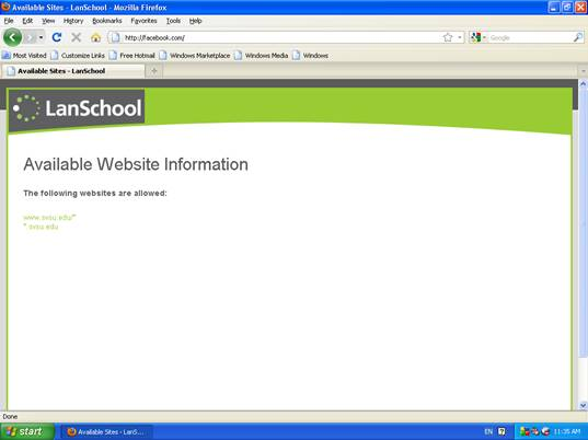 NOTE: If a student tries to access a non-allowed site, they will see a screen like this: