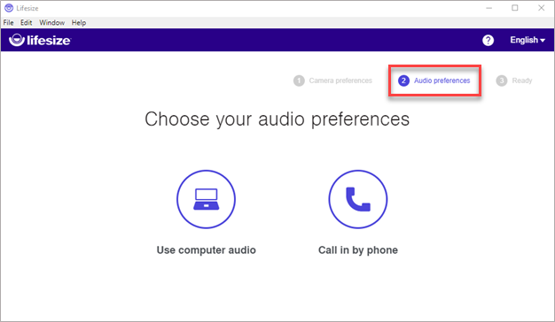 """1.If you have headset, select """"Use computer audio"""", if not select """"Call in by phone""""."""
