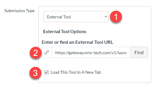 -Choose assignment type, External Tool oPASTE the LTI link that was in iClicker Course integration.  oSelect the box to LOAD THIS TOOL IN A NEW TAB.