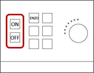 On and Off buttons are found on the wall-mounted control box.  Make sure the TV/projector are off when not in use and before leaving the room.