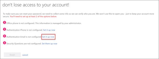 SSPR Registration screen.  Authentication Email option is selected.