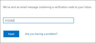SSPR Recovery screen.  Type the verification code from the email message.
