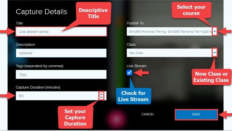 Classroom Capture Details page