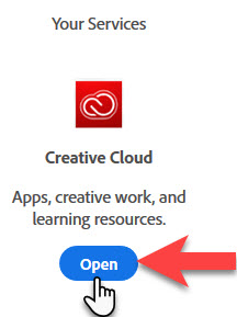 adobe.com Open button