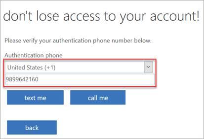 SSPR Registration screen.  Enter a phone number.