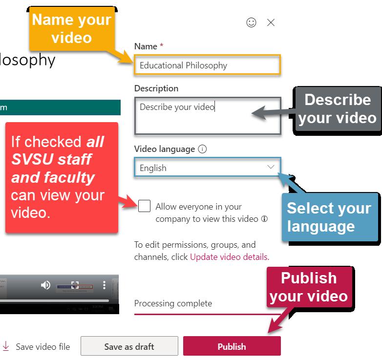 Microsoft Stream Publish Video Settings